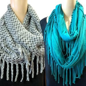 Duo of two infinity fringe scarves green and gray